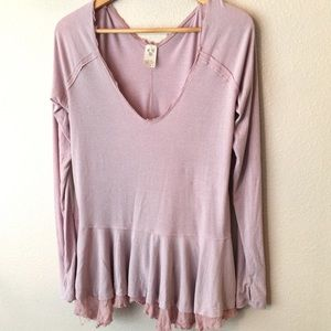 We the Free Blouse Rose with Raw Hem Long Sleeves